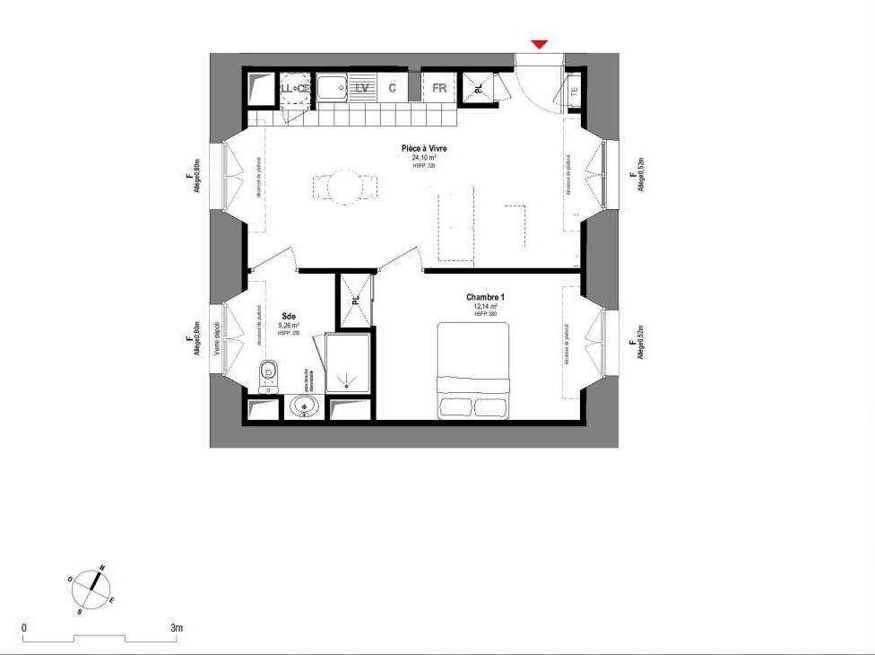 Plan A004, appartement neuf type T2 au Rez de chaussée, orienté Ouest faisant 41m² du programme neuf 1708 à Fontainebleau.