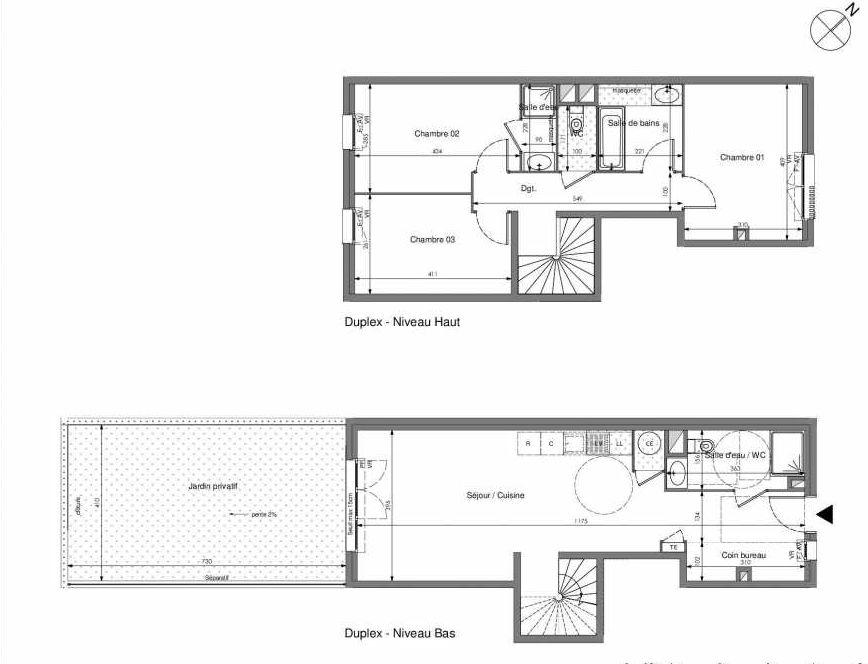 Plan A004, appartement neuf type T4 au Rez de jardin, orienté Sud faisant 94m² du programme neuf Impulsion à Marseille.