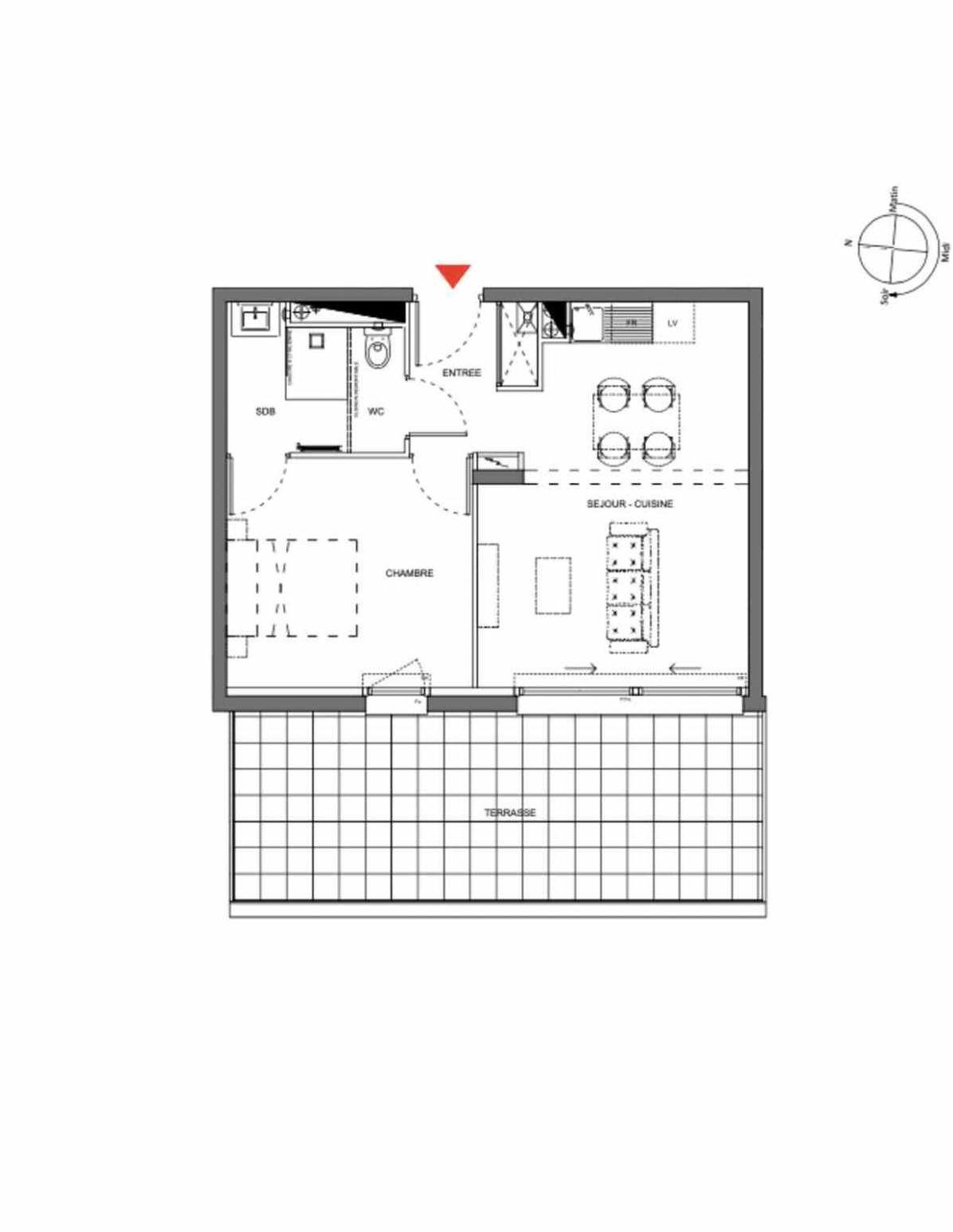 Plan A004, appartement neuf type T2 au Rez de chaussée, orienté Ouest faisant 40m² du programme neuf Les Demeures d'Henriville à Amiens.