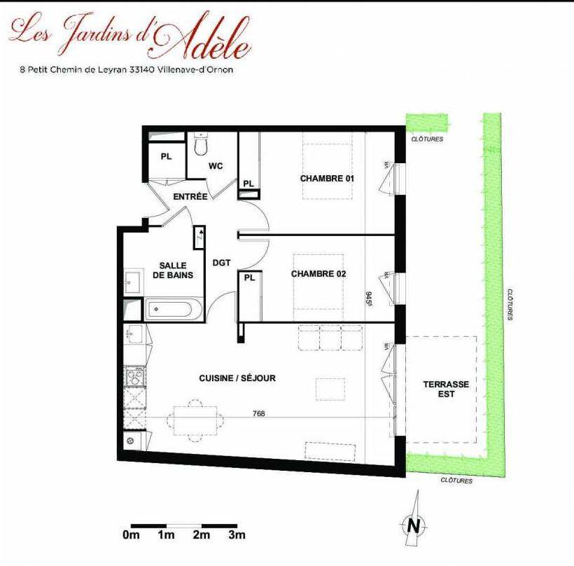 Plan A004, appartement neuf type T3 au Rez de chaussée, orienté Est faisant 67m² du programme neuf Les Jardins d'Adèle à Villenave-d'Ornon.