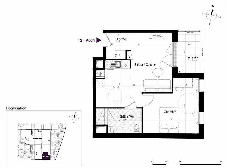 Plan A004, appartement neuf type T2 au Rez de chaussée, orienté Est faisant 45m² du programme neuf LES RIVES DE LUCE à Sainte-Luce-sur-Loire.