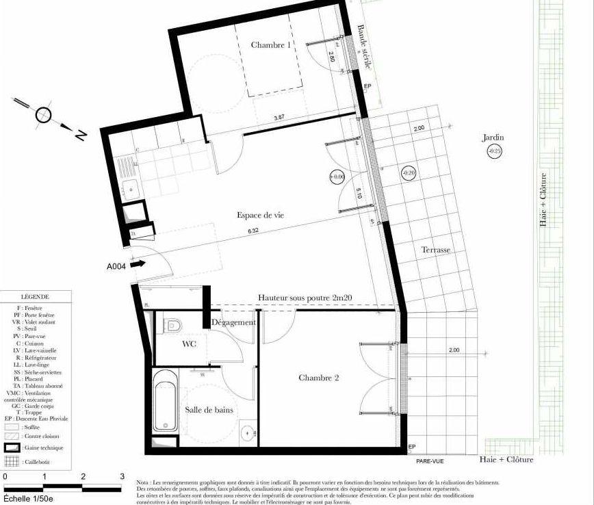 Plan A004, appartement neuf, orienté Nord faisant 61m² du programme neuf Symbiose à Bezons.