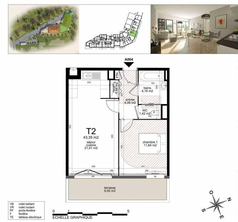 Plan A004, appartement neuf type T2 au Rez de chaussée, orienté Sud faisant 43m² du programme neuf TOULON ESTEREL à Toulon.