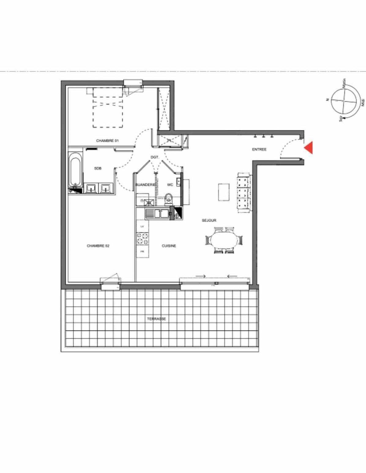Plan A005, appartement neuf type T3 au Rez de chaussée, orienté Est faisant 73m² du programme neuf Les Demeures d'Henriville à Amiens.