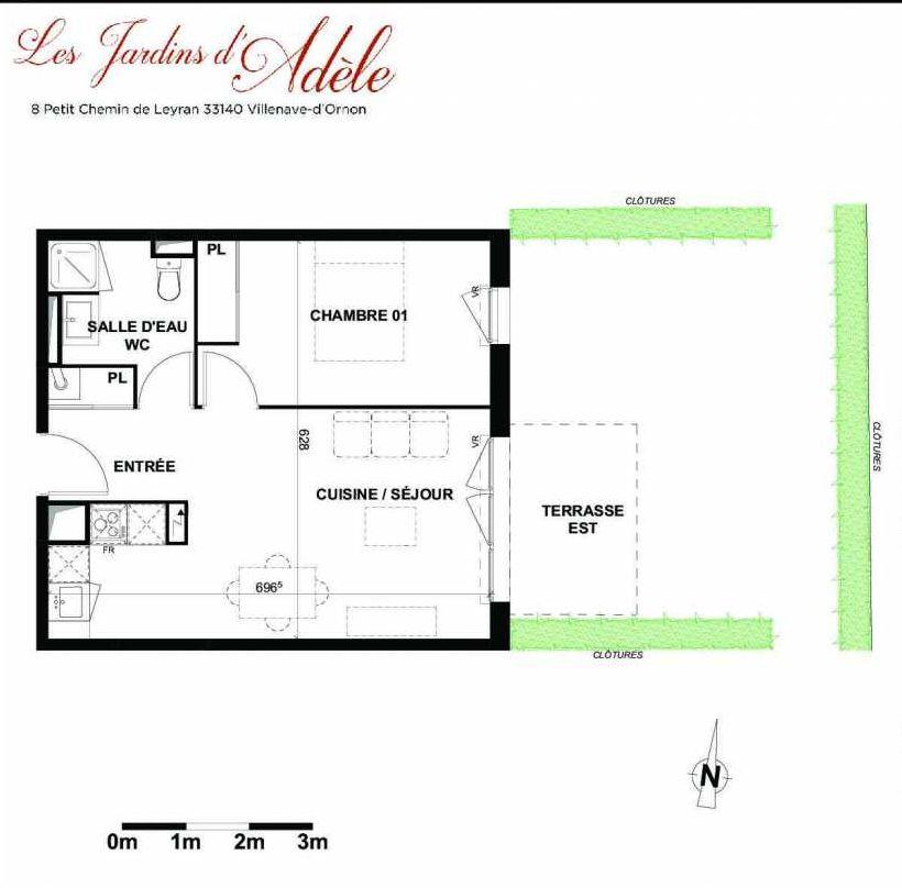 Plan A005, appartement neuf type T2 au Rez de chaussée, orienté Est faisant 42m² du programme neuf Les Jardins d'Adèle à Villenave-d'Ornon.