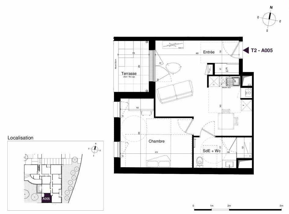 Plan A005, appartement neuf type T2 au Rez de chaussée, orienté Ouest faisant 44m² du programme neuf LES RIVES DE LUCE à Sainte-Luce-sur-Loire.