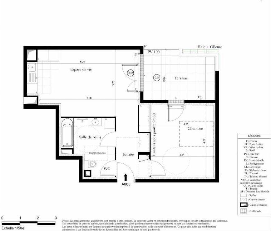Plan A005, appartement neuf, orienté Nord faisant 50m² du programme neuf Symbiose à Bezons.