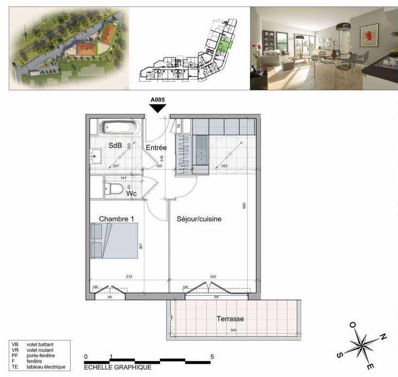 Plan A005, appartement neuf type T2 au Rez de chaussée, orienté Sud faisant 43m² du programme neuf TOULON ESTEREL à Toulon.