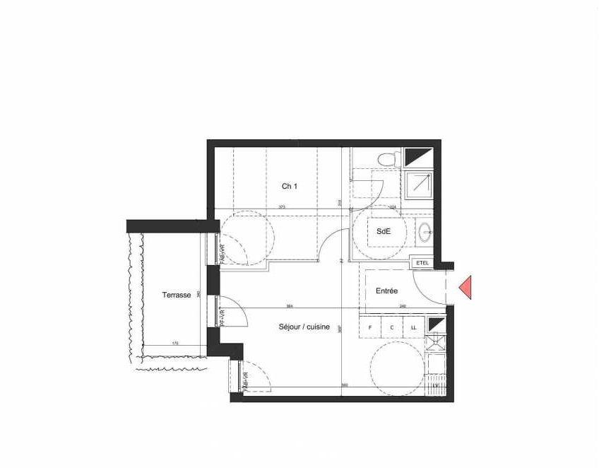 Plan A005, appartement neuf, orienté Nord faisant 39m² du programme neuf Villa Bihorel à Bihorel.