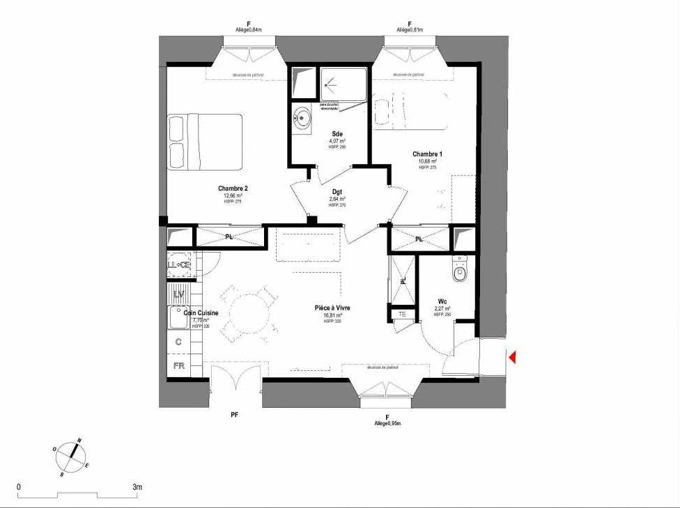 Plan A006, appartement neuf type T3 au Rez de chaussée, orienté Sud faisant 57m² du programme neuf 1708 à Fontainebleau.