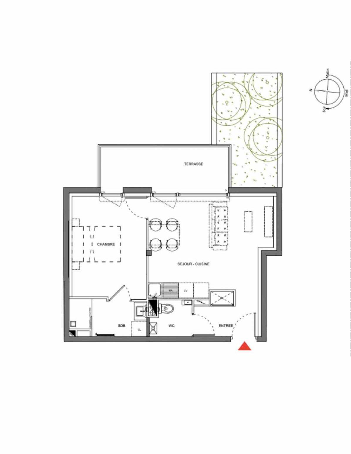 Plan A006, appartement neuf type T2 au Rez de chaussée, orienté Est faisant 40m² du programme neuf Les Demeures d'Henriville à Amiens.