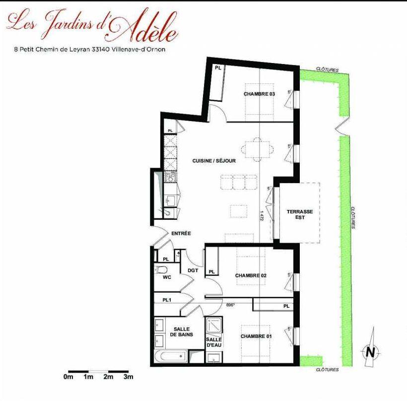 Plan A006, appartement neuf type T4 au Rez de chaussée, orienté Est faisant 86m² du programme neuf Les Jardins d'Adèle à Villenave-d'Ornon.