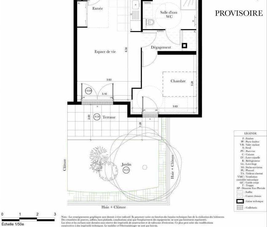 Plan A006, appartement neuf, orienté Est faisant 43m² du programme neuf Symbiose à Bezons.