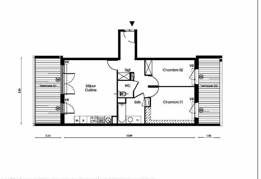 Plan A006, appartement neuf type T3 au Rez de chaussée, faisant 61m² du programme neuf TOSCANI SIENNE à Saint-Orens-de-Gameville.