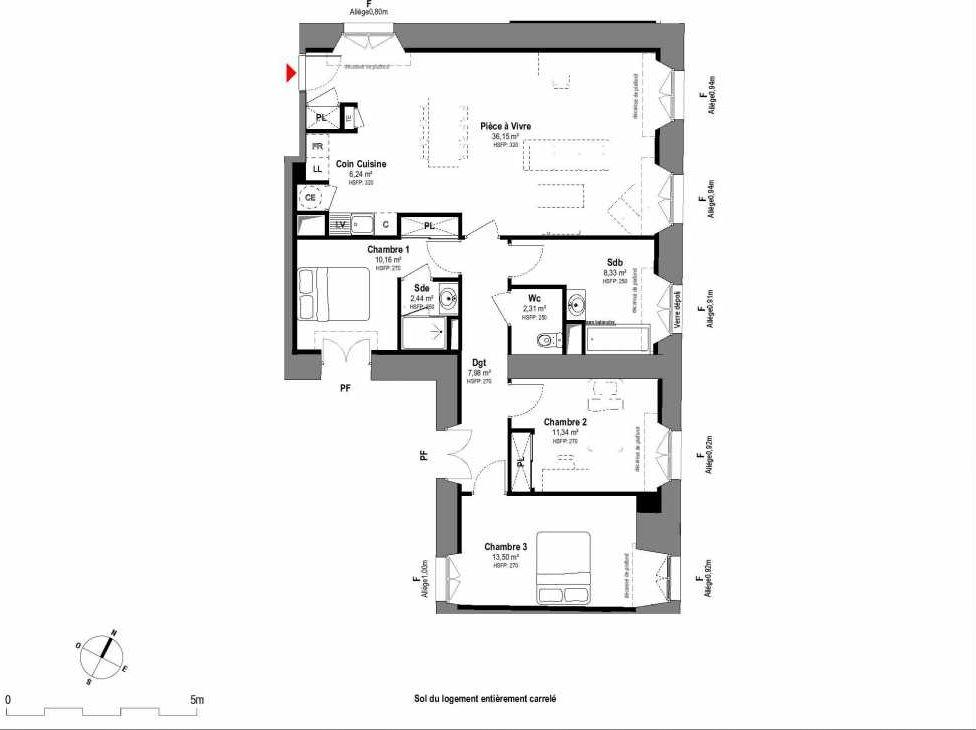 Plan A007, appartement neuf type T4 au Rez de chaussée, faisant 98m² du programme neuf 1708 à Fontainebleau.