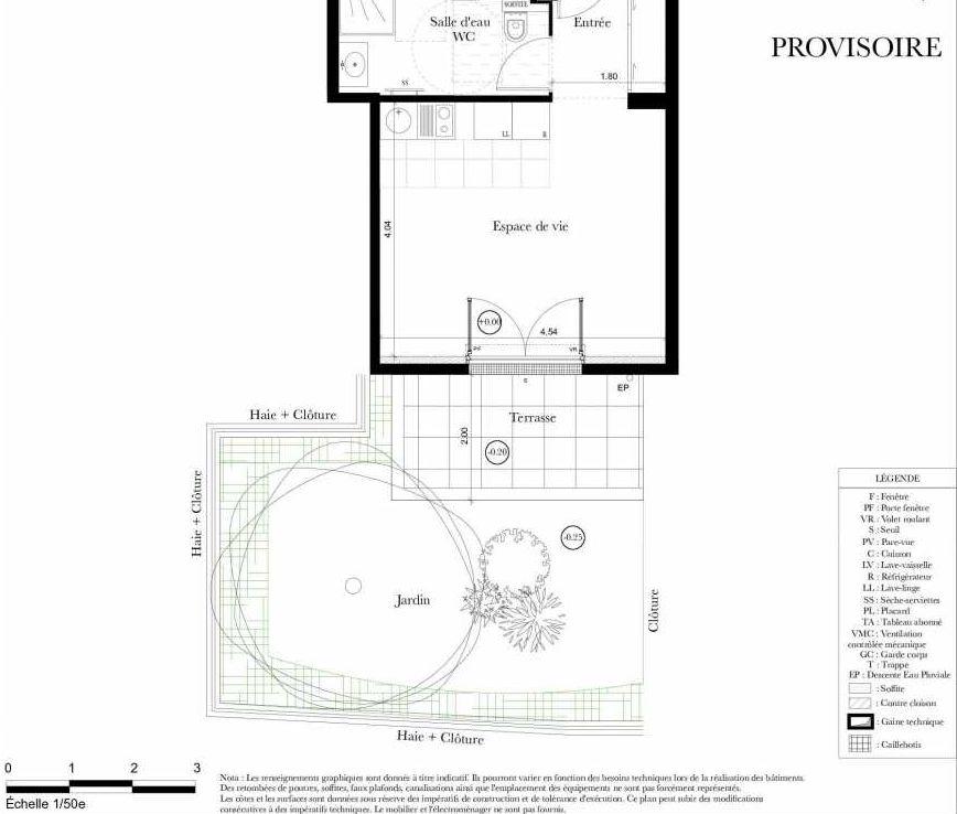 Plan A007, appartement neuf, orienté Est faisant 28m² du programme neuf Symbiose à Bezons.