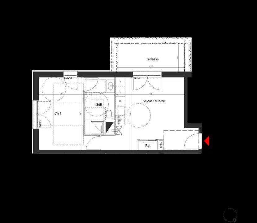 Plan A007, appartement neuf, orienté Nord faisant 42m² du programme neuf Villa Bihorel à Bihorel.
