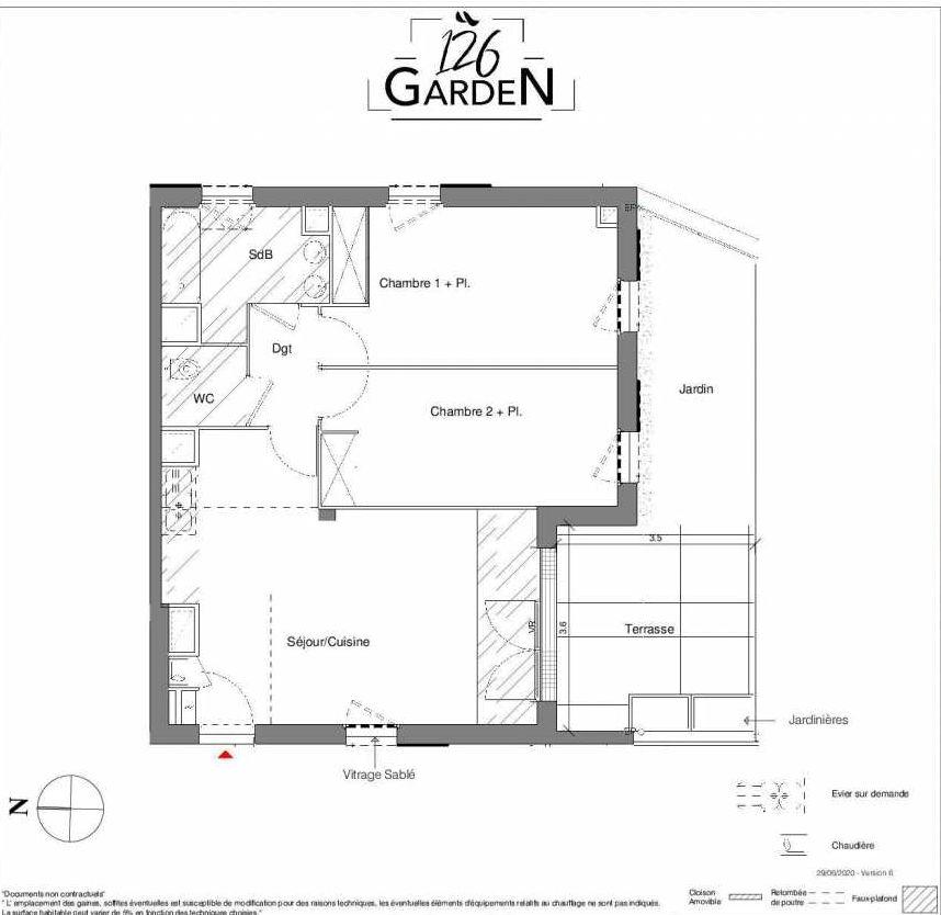 Plan A01, appartement neuf type T3 au Rez de chaussée, faisant 65m² du programme neuf 126 GARDEN à Toulouse.