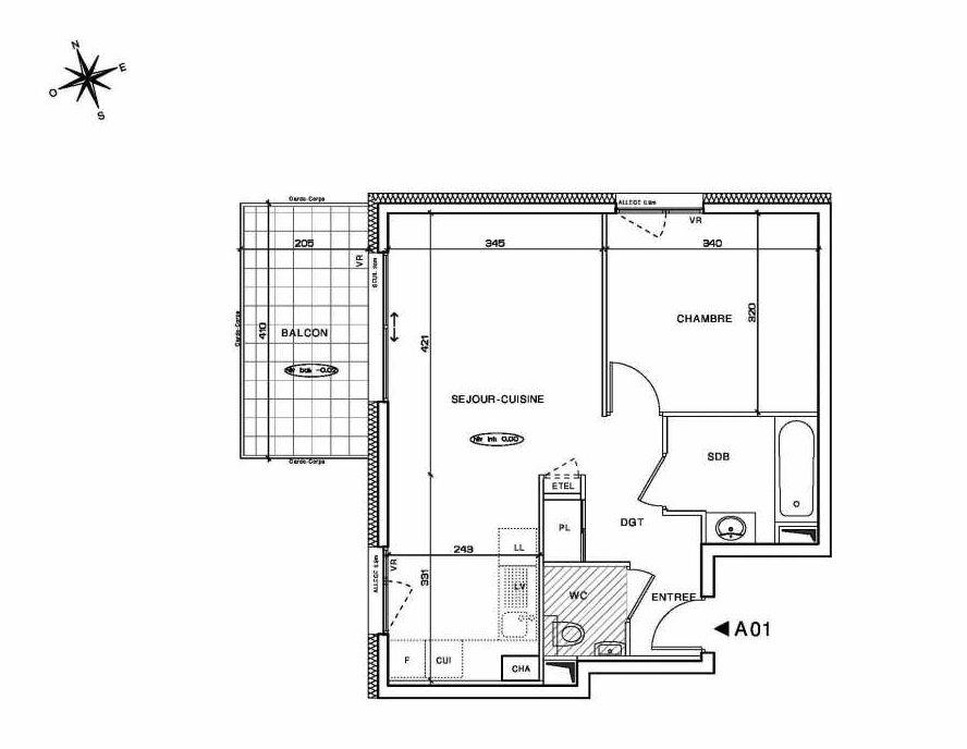 Plan A01, appartement neuf type T2 au Rez de chaussée, orienté Nord faisant 45m² du programme neuf BELLE EPOQUE à La Roche-sur-Foron.