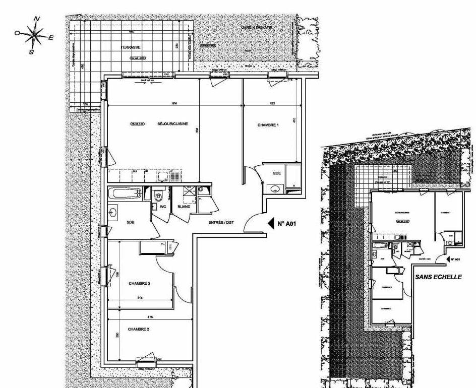 Plan A01, appartement neuf type T4 au Rez de chaussée, orienté Nord faisant 89m² du programme neuf INFINITY à Publier.