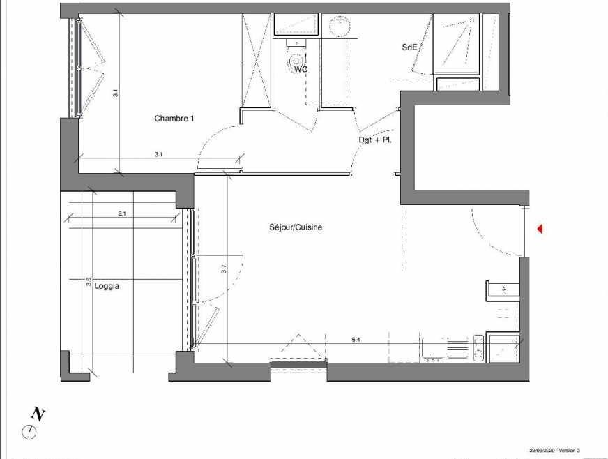 Plan A01, appartement neuf type T2 au Rez de chaussée, faisant 42m² du programme neuf Kubik Garden à Vénissieux.