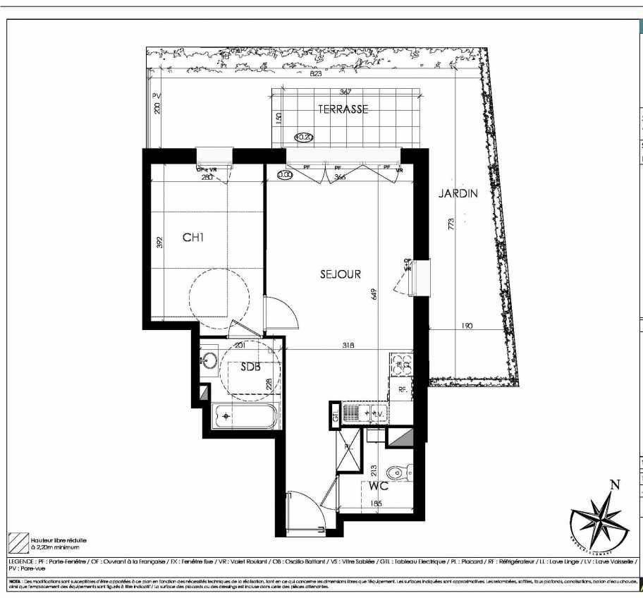 Plan A01, appartement neuf, orienté Nord faisant 45m² du programme neuf L'écrin Saint-Germain à Mouvaux.