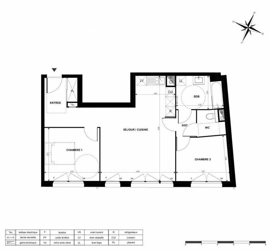 Plan A01, appartement neuf type T3 au Rez de chaussée, orienté Sud faisant 65m² du programme neuf Le Victor Hugo à Boves.