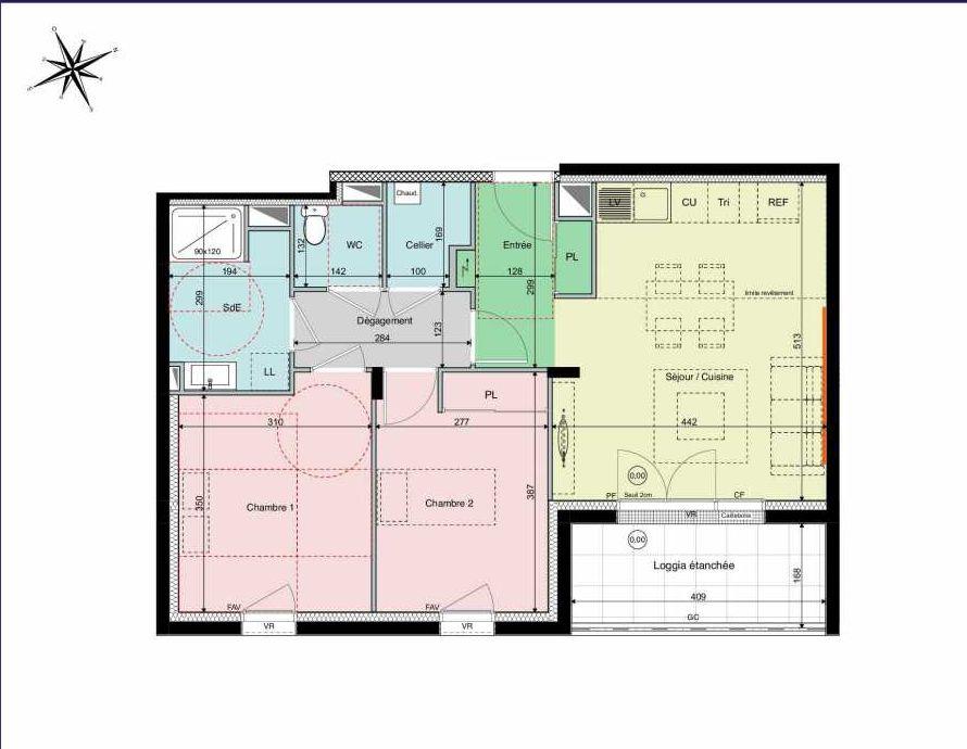 Plan A01, appartement neuf type T3 au Rez de chaussée, orienté Sud faisant 61m² du programme neuf Les Hauts de Brimberne à Sautron.