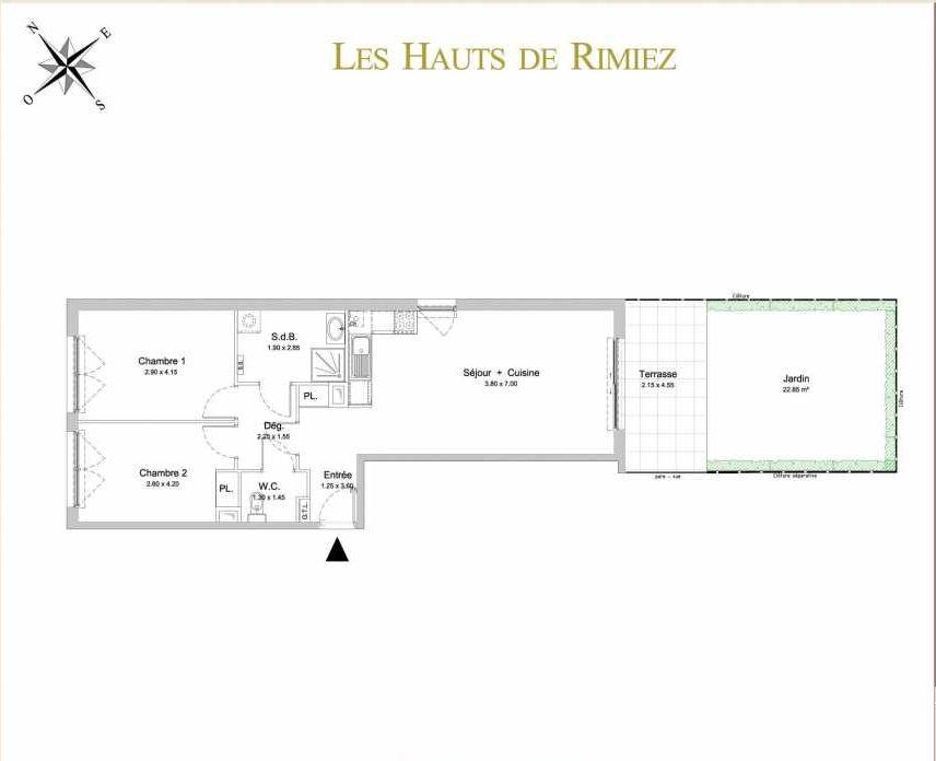 Plan A01, appartement neuf type T3 au Rez de jardin, orienté Sud faisant 65m² du programme neuf Les Hauts de Rimiez à Nice.