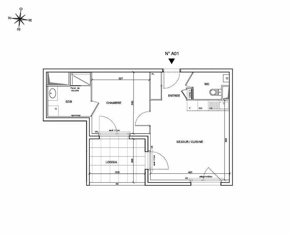 Plan A01, appartement neuf type T2 au Rez de chaussée, faisant 43m² du programme neuf Les Levants à Brignais.