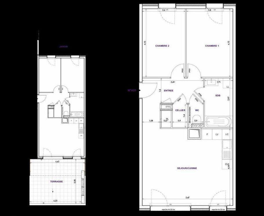 Plan A01, appartement neuf type T3 au Rez de chaussée, orienté Sud faisant 62m² du programme neuf Les Terrasses d'Orgeoise à Coublevie.