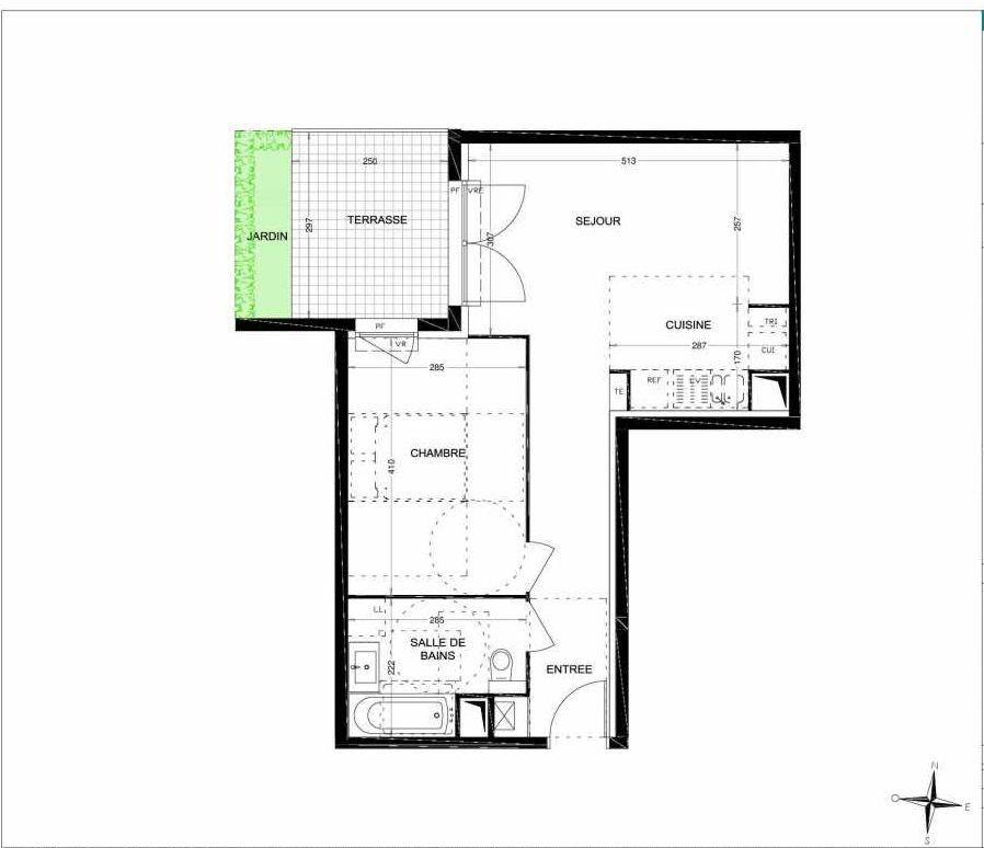 Plan A010, appartement neuf, orienté Ouest faisant 44m² du programme neuf Les Jardins des Aubépines à Draguignan.