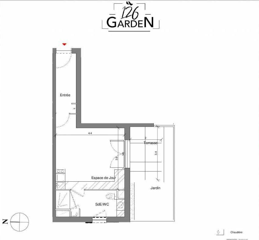 Plan A02, appartement neuf type T1 au Rez de chaussée, faisant 30m² du programme neuf 126 GARDEN à Toulouse.