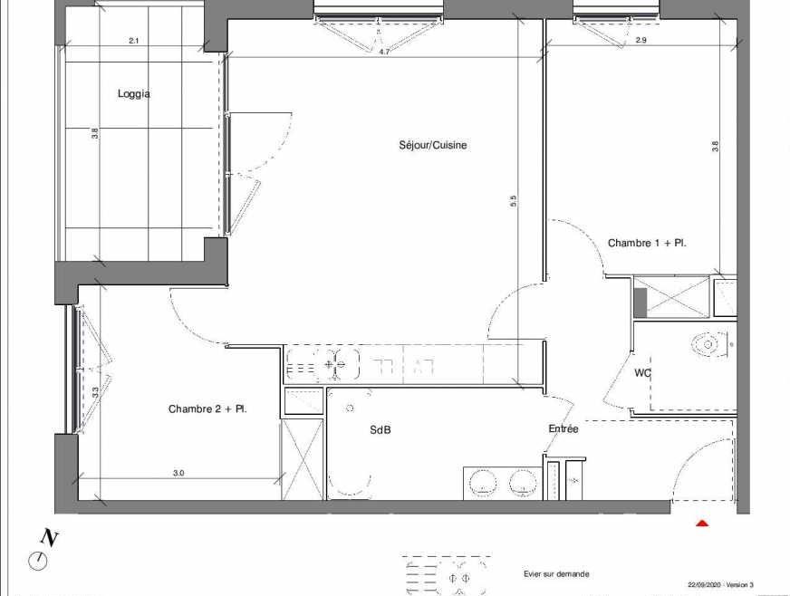 Plan A02, appartement neuf type T3 au Rez de chaussée, faisant 61m² du programme neuf Kubik Garden à Vénissieux.