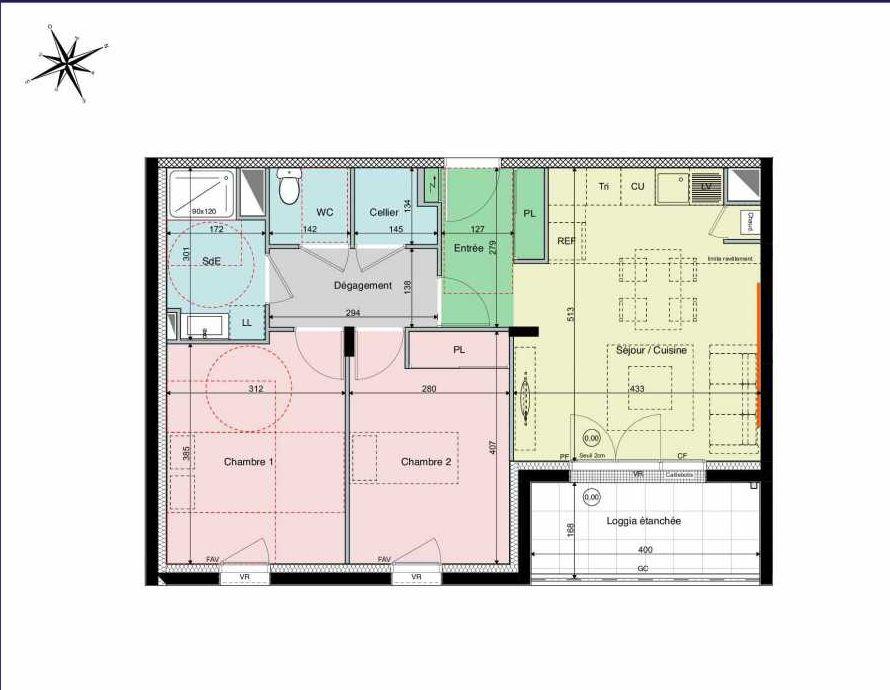 Plan A02, appartement neuf type T3 au Rez de chaussée, orienté Sud faisant 61m² du programme neuf Les Hauts de Brimberne à Sautron.