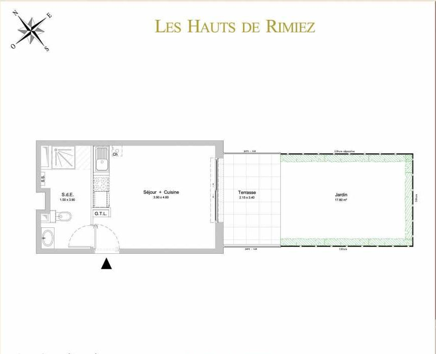 Plan A02, appartement neuf type T1 au Rez de jardin, orienté Sud faisant 24m² du programme neuf Les Hauts de Rimiez à Nice.