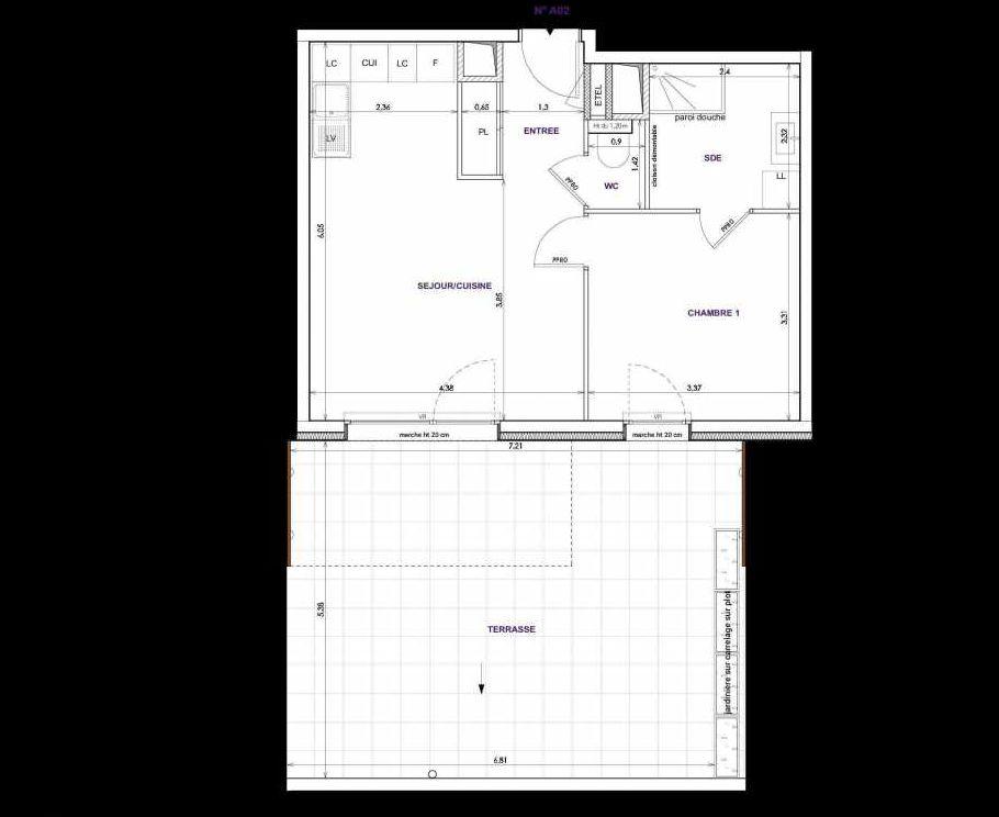 Plan A02, appartement neuf type T2 au Rez de chaussée, orienté Sud faisant 44m² du programme neuf Les Terrasses d'Orgeoise à Coublevie.