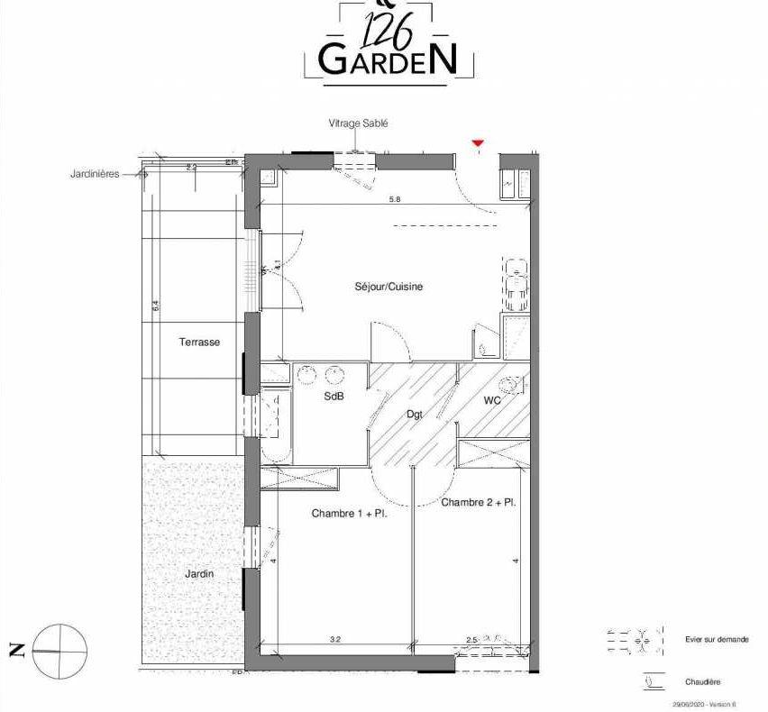 Plan A03, appartement neuf type T3 au Rez de chaussée, faisant 58m² du programme neuf 126 GARDEN à Toulouse.