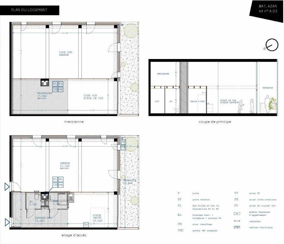 Plan A03, appartement neuf, orienté Sud faisant 32m² du programme neuf Brazza à Bordeaux.