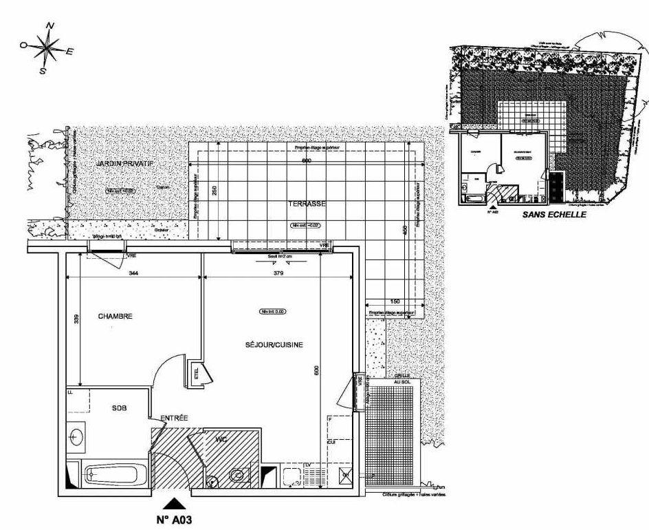 Plan A03, appartement neuf type T2 au Rez de chaussée, orienté Nord faisant 42m² du programme neuf INFINITY à Publier.