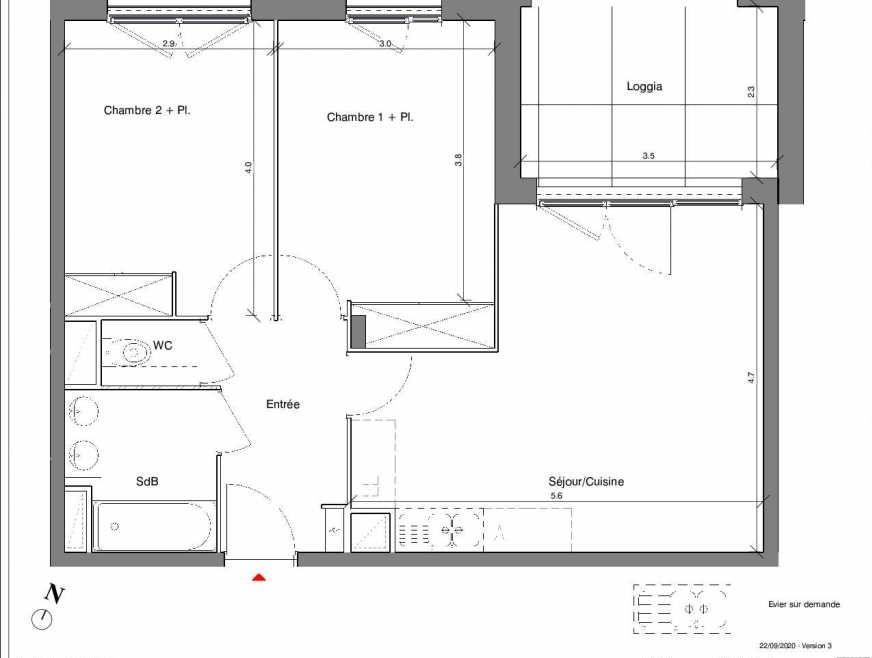 Plan A03, appartement neuf type T3 au Rez de chaussée, faisant 58m² du programme neuf Kubik Garden à Vénissieux.
