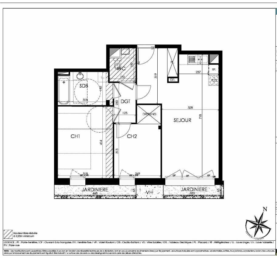 Plan A03, appartement neuf, orienté Sud faisant 63m² du programme neuf L'écrin Saint-Germain à Mouvaux.