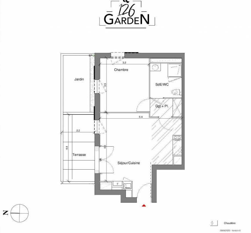 Plan A04, appartement neuf type T2 au Rez de chaussée, faisant 42m² du programme neuf 126 GARDEN à Toulouse.