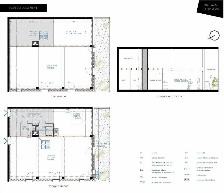 Plan A04, appartement neuf, orienté Sud faisant 32m² du programme neuf Brazza à Bordeaux.