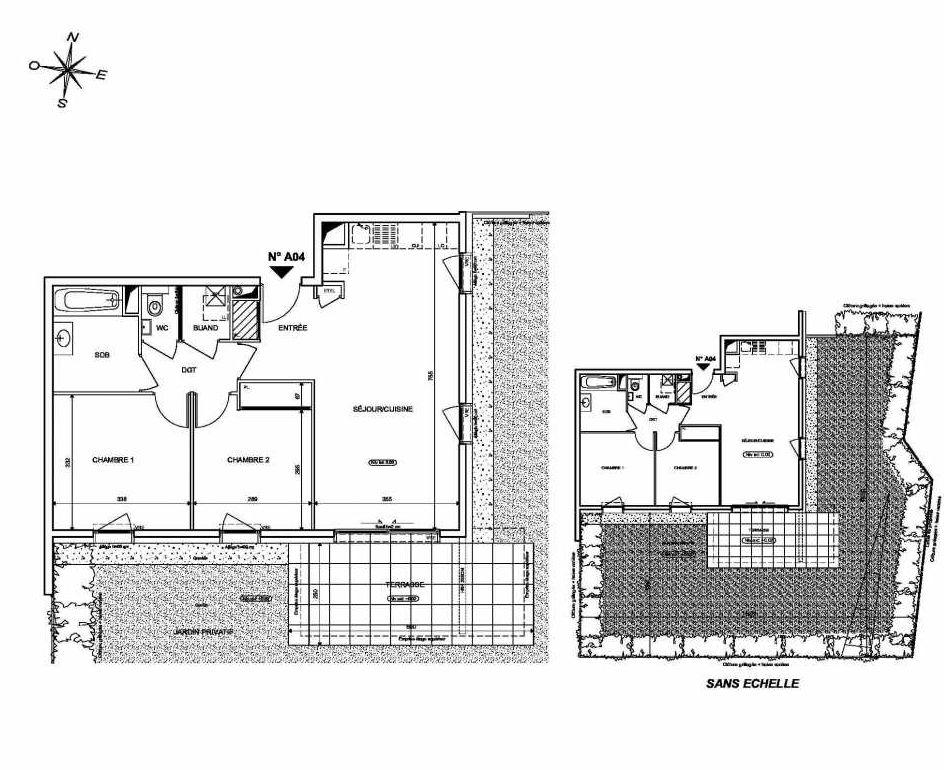 Plan A04, appartement neuf type T3 au Rez de chaussée, orienté Sud faisant 62m² du programme neuf INFINITY à Publier.