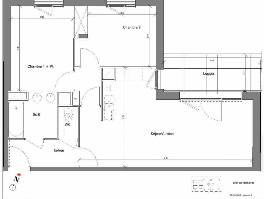 Plan A04, appartement neuf type T3 au Rez de chaussée, faisant 59m² du programme neuf Kubik Garden à Vénissieux.