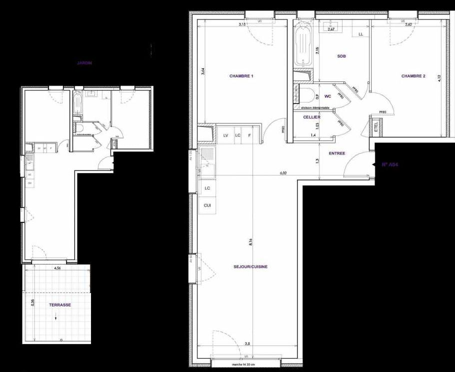 Plan A04, appartement neuf type T3 au Rez de chaussée, orienté Sud faisant 64m² du programme neuf Les Terrasses d'Orgeoise à Coublevie.