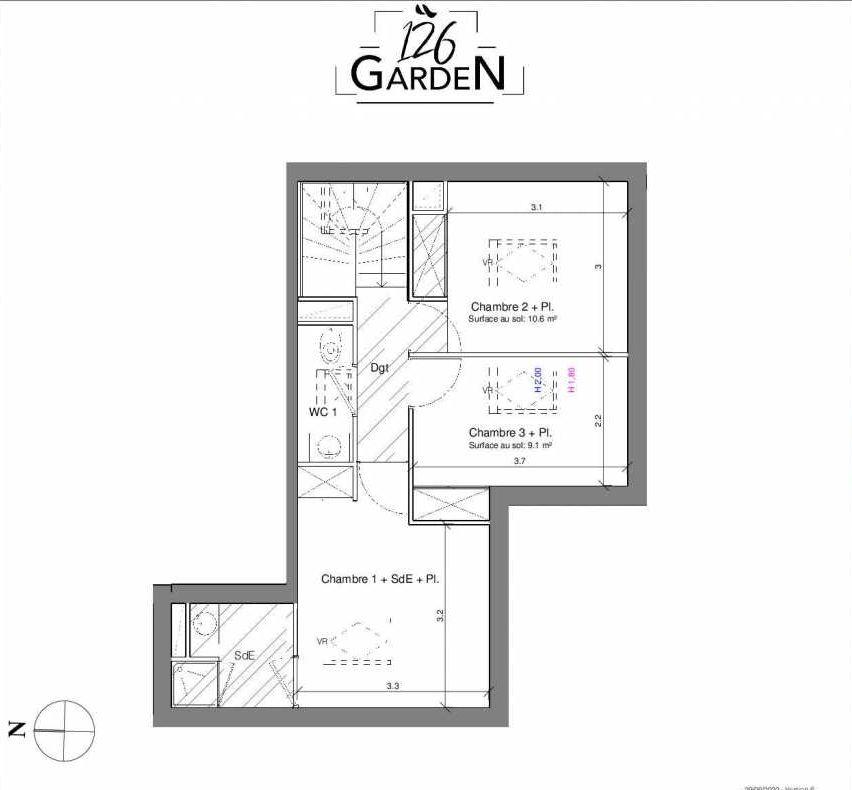Plan A05, appartement neuf type T4 au 1er étage, faisant 78m² du programme neuf 126 GARDEN à Toulouse.