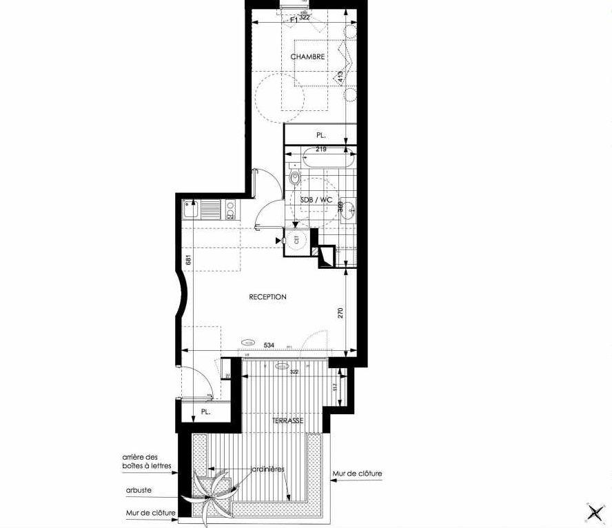 Plan A05, appartement neuf type T2 au Rez de chaussée, orienté Sud faisant 46m² du programme neuf Cosy à Toulouse.