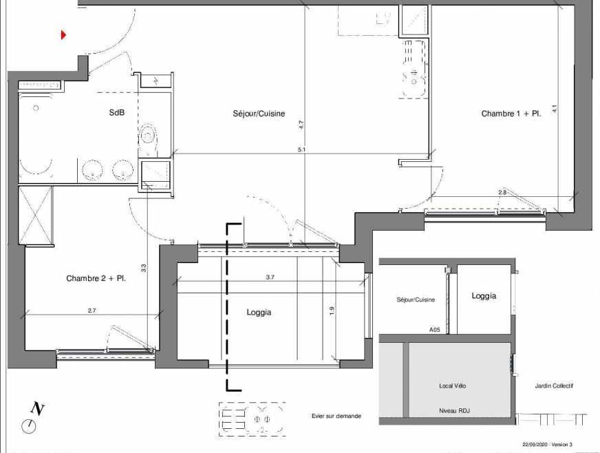 Plan A05, appartement neuf type T3 au Rez de chaussée, faisant 51m² du programme neuf Kubik Garden à Vénissieux.